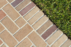 Brick Pavers Walkway And Lush Green Grass. At the edge of a nice clean brick pavers walkway and lush green grass on a bright sunny afternoon Stock Photos