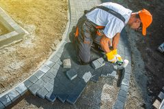 Brick Paving Works stock photo