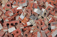 Brick Pile. A pile of broken bricks.  Good for a background or wallpaper Stock Image