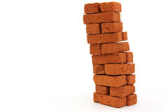 Brick pillar construction isolated. On white background royalty free stock images