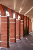 Brick pillar. Red square building Royalty Free Stock Photos