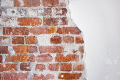 Brick and plaster. Old brick and plaster wall Stock Image