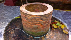 A  brick pond water-well  in the temple Stock Image