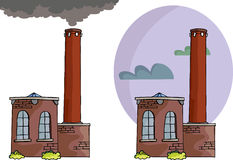 Brick Power Plant. Cartoon of a small power plant or factory with smoke, tall smokestack and sky background variation Stock Photos