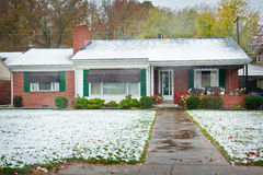 Brick Ranch-Style Home Stock Photography