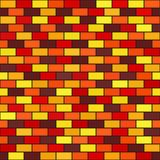 Brick rectangle pattern. Seamless vector brick wall background. Maroon, red, orange, gold, yellow rectangles on black backdrop Stock Photography