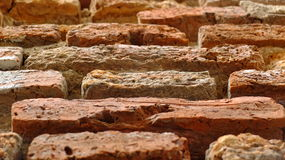 Brick. Red brick in the ancient building and molder Stock Photography