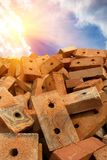 Brick  red  clay  sun Stock Images