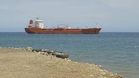 Brick red ship in sea. A brick red ship sailing in sea, view from the beach stock video footage