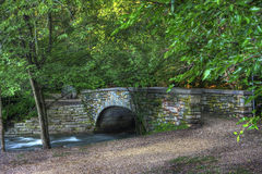 Brick river bridge in hdr Royalty Free Stock Photo