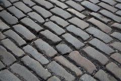 Brick road. Concrete brick stone way road city texture Stock Photos