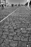 Brick road. Black&white shot of brick road stock photo