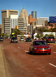 Brick road in Detroit. With buildings in background royalty free stock image