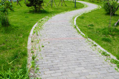Brick road. On grass field Royalty Free Stock Photos