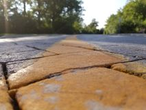 On a brick road. In the middle of a yellow brick road royalty free stock images