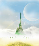 Brick road to emerald city. Mysterios landscape leading to emerald city in oz Royalty Free Stock Image