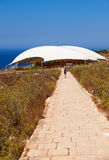 The brick road to the megalithic temple of Mnajdra. Malta Royalty Free Stock Photo