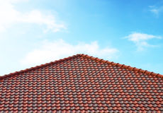 Brick roof with blue sky Stock Image