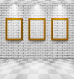 Brick room with frames Stock Images