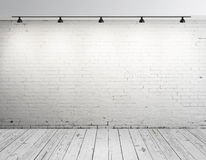 Brick room with lamp. High resolution brick concrete room with ceiling lamp Royalty Free Stock Photo