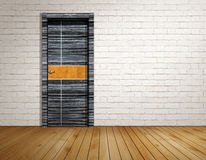 Brick room with modern door Royalty Free Stock Photos