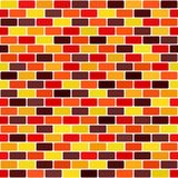 Brick rounded rectangle pattern. Seamless vector brick wall back. Ground - maroon, red, orange, gold, yellow rounded rectangles on white backdrops Royalty Free Stock Images