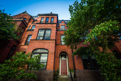 Brick row houses in the West End, Washington, DC. Royalty Free Stock Photo