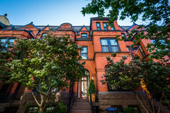 Brick row houses in the West End, Washington, DC. Royalty Free Stock Images