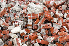 Brick Rubble Background. Background texture of a pile of brick rubble stock photos