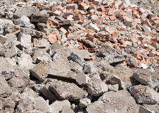 Brick rubble derbis on construction site Royalty Free Stock Photography