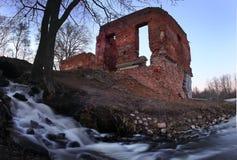 Brick Ruin on the shore of lake Stock Photography