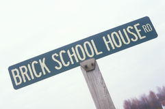 Brick School House sign Royalty Free Stock Images