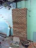 Brick and 2 shade of wall. Old blue and green wall and brick royalty free stock image