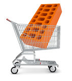 Brick in shopping cart Stock Images
