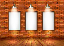 Brick show room with spotlights. Royalty Free Stock Images