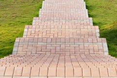 Brick Sidewalk. Garden stone path with grass growing up between and around stones, Brick Sidewalk stock photo