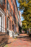 Brick Sidewalk in Beacon Hill on a Sunny Autumn Day royalty free stock images
