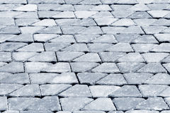 Brick sidewalk, made from plain interlocking concrete. Bricks Stock Photo