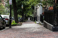 Brick Sidewalk. In the middle of the city Royalty Free Stock Images