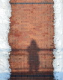 Brick Sidewalk and snow Stock Photos