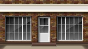 Brick small 3d store or boutique front facade. Exterior empty boutique shop with big window. Blank mockup of stylish stock illustration