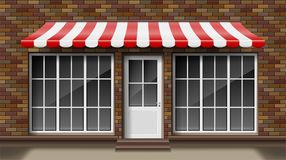 Brick small 3d store front facade Template with awning. Exterior empty shop or boutique with big window. Blank mockup of. Stylish realistic street shop. Vector vector illustration