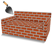 Brick sofa and trowel illustration Stock Photo