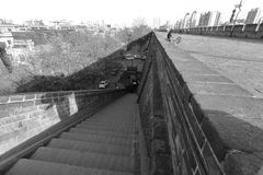 Brick stairs the ancient city of xian. black and white image. Xian ancient city, shaanxi province, china. xian wall is chinese largest existing and most stock photo
