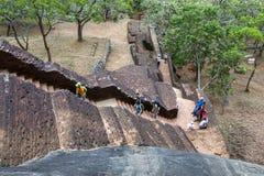 The brick stairway leading up Sigiriya Rock in Sri Lanka. Stock Image