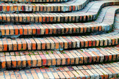 Brick steps 2. Brick curved colorful steps in autumn Stock Photo