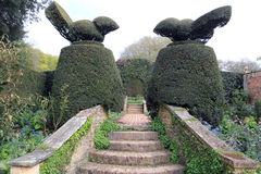 Brick steps leading to Topiary at Hidecote Manor. From a field high up on the Cotswold escarpment to one of the country's most influential 20th-century gardens Stock Images