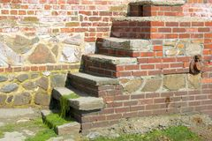 Brick steps in seawall. Bonham. England Royalty Free Stock Images