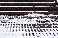 Brick steps and snow pattern - winter abstract 2 Royalty Free Stock Image