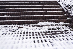 Brick steps and snow pattern - winter abstract 1 Royalty Free Stock Image
